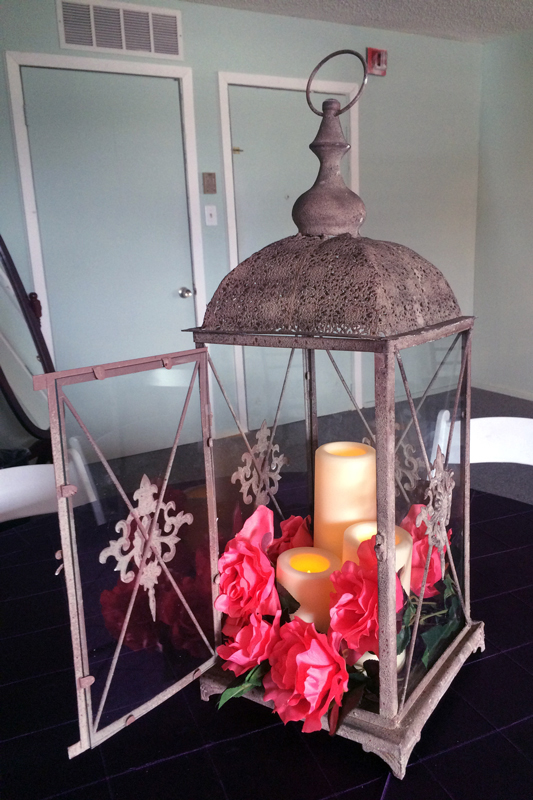 Rustic Coach Lantern with treatments